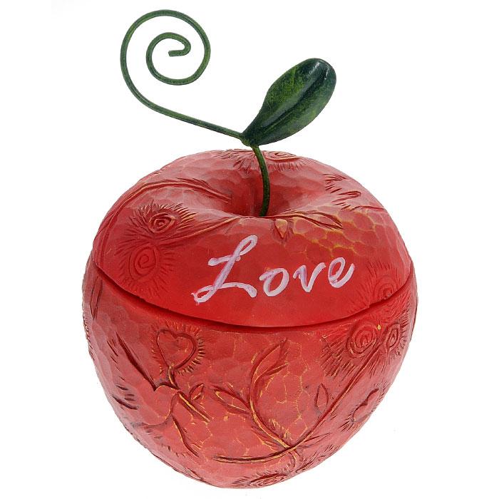 Декоративная шкатулка Феникс-презент, 8 x 8 x 12,2 см28723Шкатулка Феникс-презент изготовлена из полирезина в форме яблока. Изделие, украшенное надписью Love и рельефным рисунком, позволит создать правдоподобную декорацию и почувствовать приятную атмосферу в вашем доме, а также украсит интерьер комнаты. Шкатулка Феникс-презент станет отличным подарком вашим друзьям и близким.