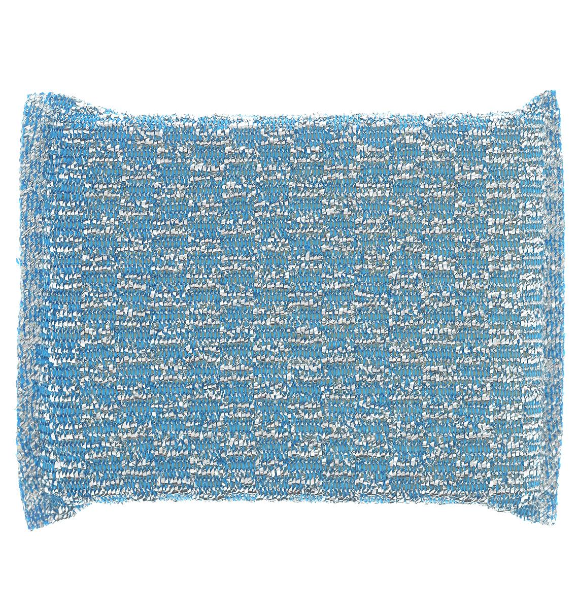 Губка для мытья посуды Home Queen, с металлизированной нитью, цвет: синий губка для мытья посуды rainbow home цветок