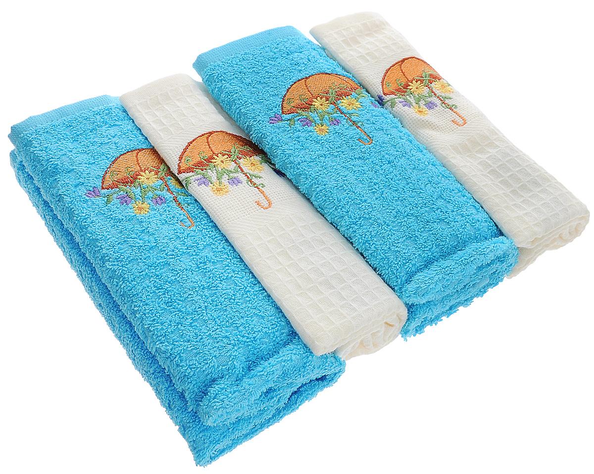 Набор кухонных полотенец Mariposa Umbrella, 40 см х 60 см, 4 шт57946Набор Mariposa Umbrella состоит из четырех кухонных полотенец (2 вафельных и 2 махровых), выполненных из натурального экологически чистого хлопка. Качество материала гарантирует безопасность не только взрослых, но и самых маленьких членов семьи. Полотенца оформлены яркой вышивкой в виде зонтика с цветами. Наборы кухонных полотенец Mariposa идеально дополнят интерьер вашей кухни и создадут атмосферу уюта и комфорта. Mariposa - интерьер и практичность современной кухни! В коллекции Mariposa вы найдете все, что сделает интерьер вашей кухни стильным и гармоничным. Коллекция Mariposa станет незаменимым оформлением и практичной деталью, как дома, так и на пикнике. Вы сможете подобрать изысканные полотенца и наборы, стильные скатерти. Коллекция украшена яркими рисунками в разных стилях, это, несомненно, поможет вам создавать каждый день новое настроение на кухне и дарить вкусную радость вашим близким.