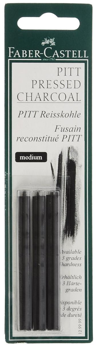 Faber-Castell Прессованный уголь Pitt Monochrome Medium 3 шт129999Прессованный уголь Faber-Castell Pitt Monochrome от всемирно известной компании Faber-Castell (Германия) - это один из самых высококачественных продуктов мирового лидера по производству графических материалов.Прессованный уголь изготавливается из угля, сажи и глины. Он передает самый точный оттенок черного, который вы только сможете найти.Прессованный уголь, в отличие от натурального, не такой сыпучий, им нельзя рисовать контуры на холсте, он не стирается с холста или картона, и предназначен в первую очередь для создания самостоятельных картин углем: портретов, пейзажей, натюрмортов.Картины будут очень насыщенными, так как прессованный уголь дает достаточно толстую, мягкую и насыщенную линию. Лучше использовать прессованный уголь как самостоятельный художественный элемент.Степень твердости: Medium.В комплекте 3 угольных стержня.