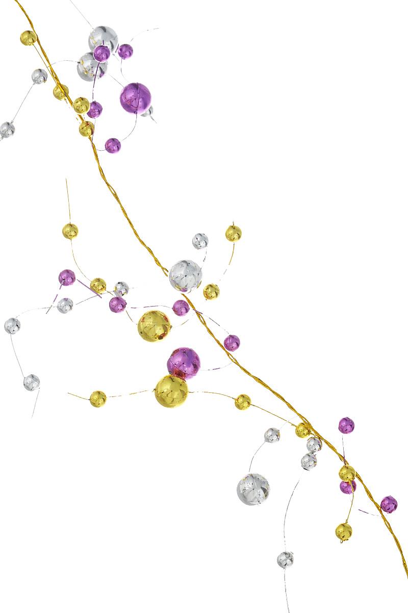 Новогоднее украшение Lunten Ranta Бусы. Веточки, цвет: серебристый, золотистый, фиолетовый, длина 2 м