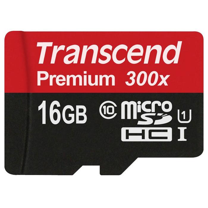 Transcend Premium microSDHC Class 10 UHS-I 300x 16GB карта памяти (без адаптера)TS16GUSDCU1Карты памяти Transcend microSDHC UHS-I были созданы для того, чтобы повысить эффективность работы с вашим смартфоном или планшетом, и соответствуют всем требованиям стандарта Ultra High Speed Class 1. Построенные на основе самых современных технологий, эти карты обеспечивают максимальный уровень производительности в требовательных к работе подсистемы памяти играх и приложениях, а также позволяют без задержек воспроизводить Full HD-видео с полной кадровой частотой.