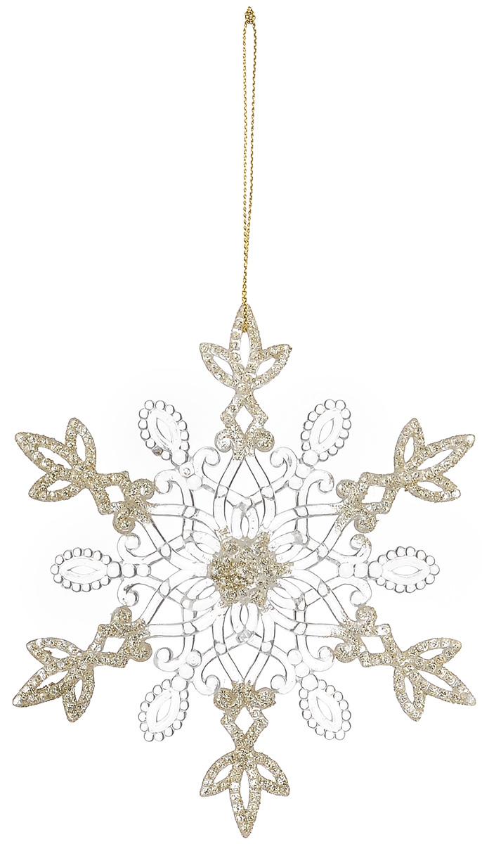 Новогоднее подвесное украшение Снежинка. Нежные кружева, диаметр 13 см38572Новогоднее украшение Снежинка. Нежные кружева отлично подойдет для декорации вашего дома и новогодней ели. Изделие выполнено из прочного пластика в виде снежинки и украшено блестками. Елочная игрушка - символ Нового года. Она несет в себе волшебство и красоту праздника. Создайте в своем доме атмосферу веселья и радости, украшая всей семьей новогоднюю елку нарядными игрушками, которые будут из года в год накапливать теплоту воспоминаний.