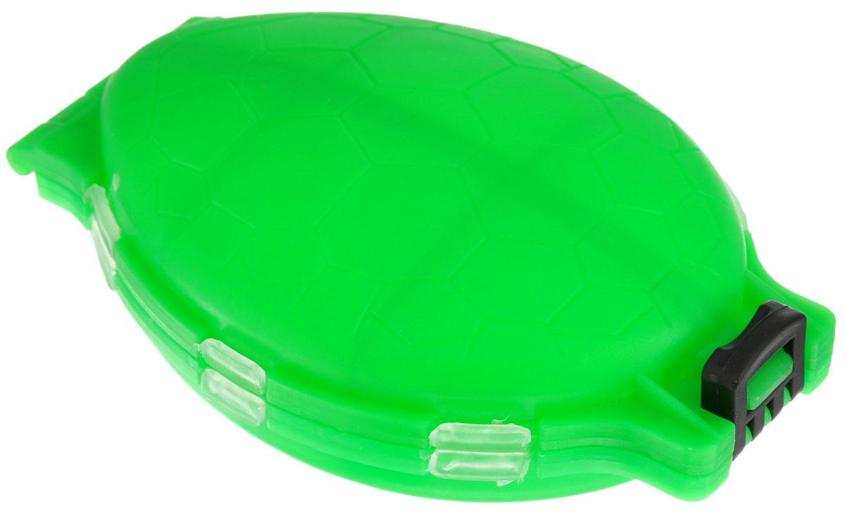 Органайзер для мелочей, двухсторонний, цвет: зеленый, 11 см х 7,5 см х 2,5 см679530/8952430_зеленыйУдобная пластиковая коробка Три кита Черепашка прекрасно подойдет для хранения и транспортировки различных мелочей. Коробка имеет 12 фиксированных секций, закрывающихся на крышки. Удобный и надежный замок-защелка обеспечивает надежное закрывание коробки. Такая коробка поможет держать вещи в порядке.Средний размер секции: 3 см х 3 см.