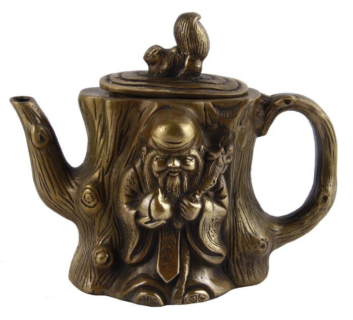 Чайник в тибетском стиле Лесной мудрец. Бронза, прочеканка. Китай, вторая половина XX века китай yixing чайник коллекция h068