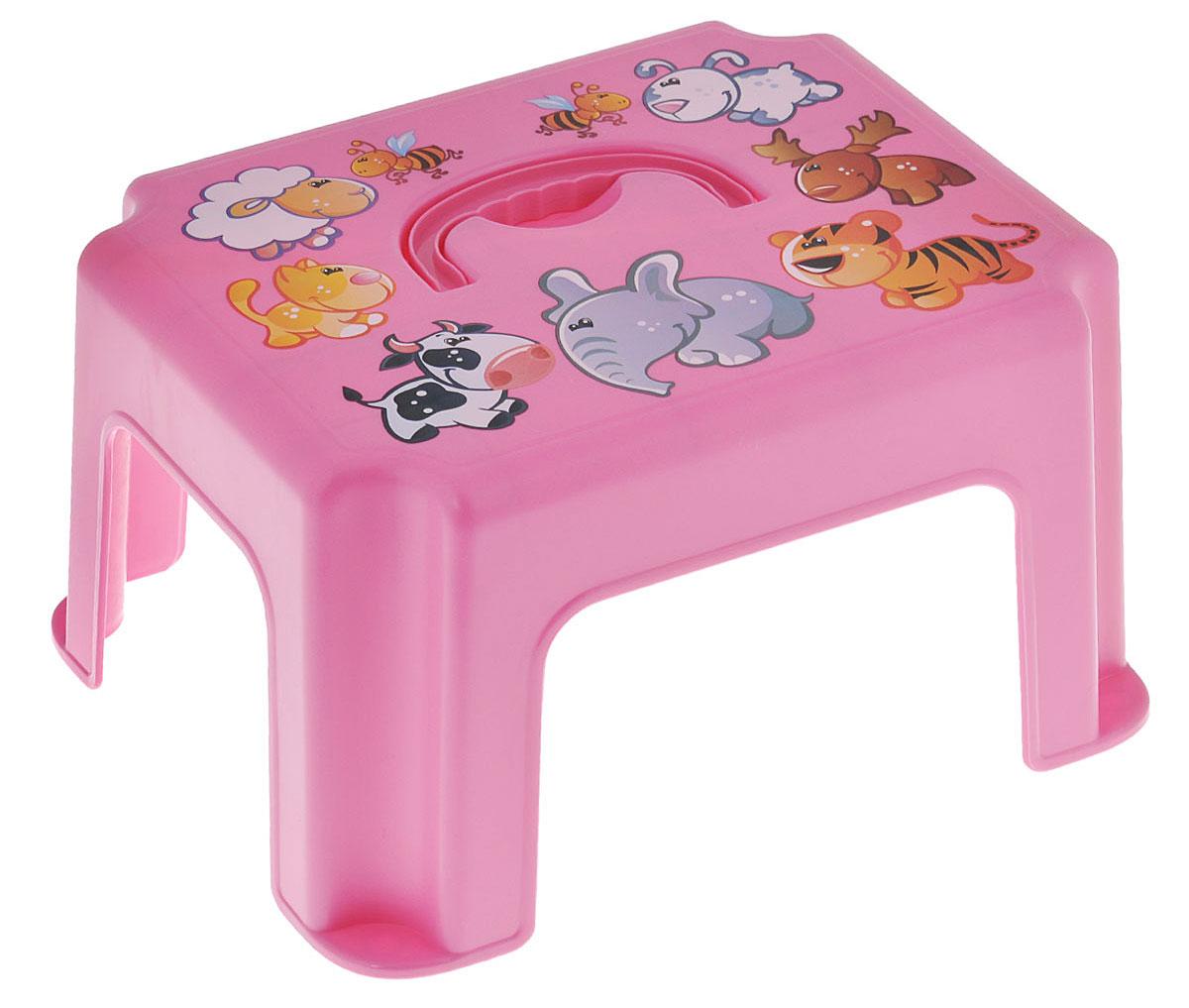 Idea Табурет-подставка детский с ручкой цвет розовый бальзамы для мам и малышей
