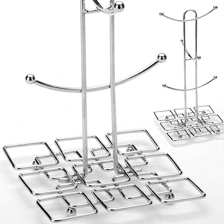 Подставка-стойка для чашек Mayer & Boch, высота 30 см115510Подставка-стойка для чашек Mayer & Boch изготовлена из хромированной стали и рассчитана на 6 чашек. Имеет стильный дизайн. Нижняя часть оформлена узорами квадратной формы. Подставка отлично впишется в любой интерьер и станет практичной принадлежностью в домашнем уюте. Высота подставки - 30 см.