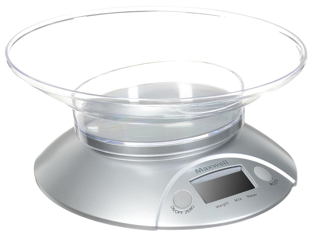 Maxwell MW-1451, Silver весы кухонныеMW-1451 SilverВам необходимо быстро отмерить нужное количество ингредиентов для приготовления блюда? Воспользуйтесь стильными весами кухонными MAXWELL MW-1451 электронного типа. Весы очень компактны, поэтому не займут много пространства на вашей кухне. Весы прекрасно подходят, как для измерения массы твердых или сыпучих продуктов, так и для измерения объема жидкостей, что особенно удобно. Максимальная масса для взвешивания составляет 5 кг, а при перегрузке загорится специальный индикатор на панели управления устройством. Весы оснащены довольно крупным жидкокристаллическим дисплеем, где с точностью до г отражается масса взвешиваемых продуктов.
