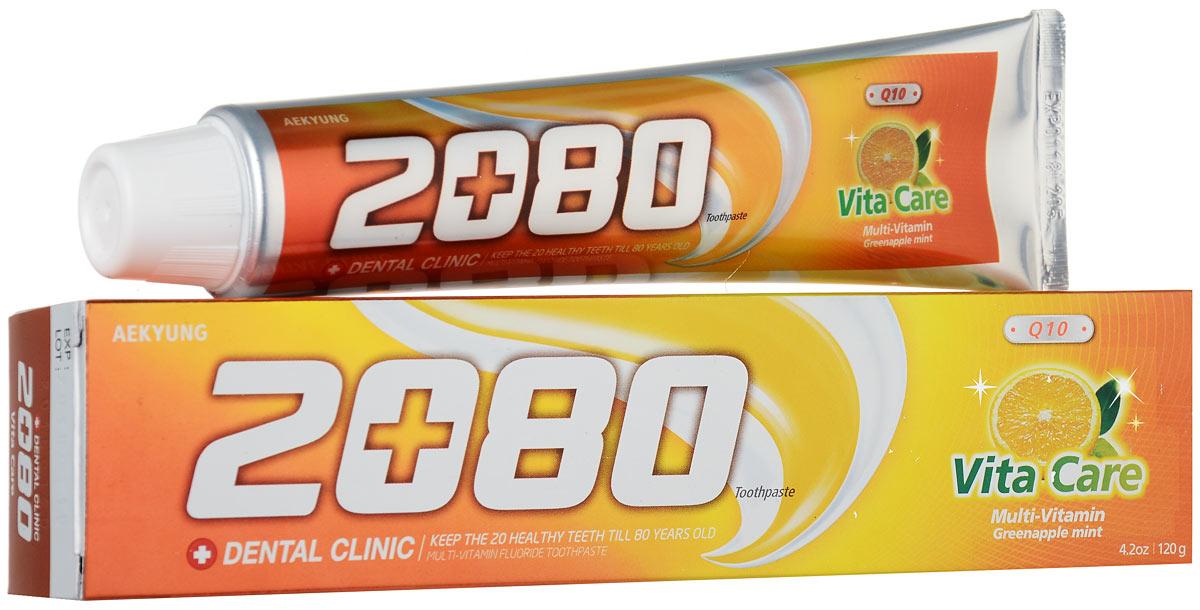 Зубная паста 2080 Витаминный уход, вкус мяты и зеленого яблока, 120 гFCN89250Мультивитаминная фторсодержащая зубная паста 2080 Витаминный уход освежает дыхание, защищает от кариеса и отбеливает. Характеристики: Вес: 120 г. Артикул: 2865. Товар сертифицирован.