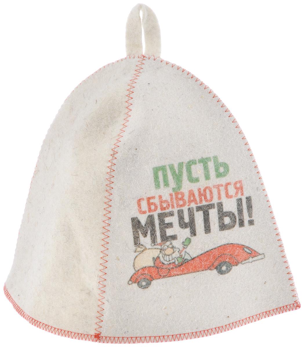 """Банная шапка Главбаня """"Пусть сбываются мечты!"""" изготовлена из высококачественного войлока и декорирована изображением Деда Мороза на машине и надписью """"Пусть сбываются мечты!"""". Банная шапка - это незаменимый аксессуар для любителей попариться в русской бане и для тех, кто предпочитает сухой жар финской бани. Кроме того, шапка защитит волосы от сухости и ломкости, голову от перегрева и предотвратит появление головокружения. На шапке имеется петелька, с помощью которой ее можно повесить на крючок в предбаннике. Такая шапка станет отличным подарком для любителей отдыха в бане или сауне.Обхват головы: 68 см.Высота шапки: 23 см.Материал: войлок (50% шерсть, 50% полиэфир)."""