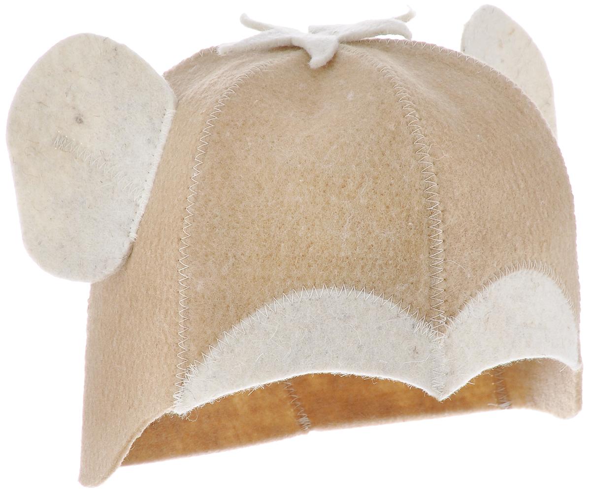 """Банная шапка Главбаня """"Обезьянка"""" изготовлена из высококачественного войлока и декорирована аппликацией в виде ушей и пучка волос обезьяны. Банная шапка - это незаменимый аксессуар для любителей попариться в русской бане и для тех, кто предпочитает сухой жар финской бани. Кроме того, шапка защитит волосы от сухости и ломкости, голову от перегрева и предотвратит появление головокружения. Внутри шапки - петелька для подвешивания на крючок.Такая шапка станет отличным подарком для любителей отдыха в бане или сауне.Обхват головы: 62 см.Высота шапки: 18 см.Материал: войлок (50% шерсть, 50% полиэфир)."""