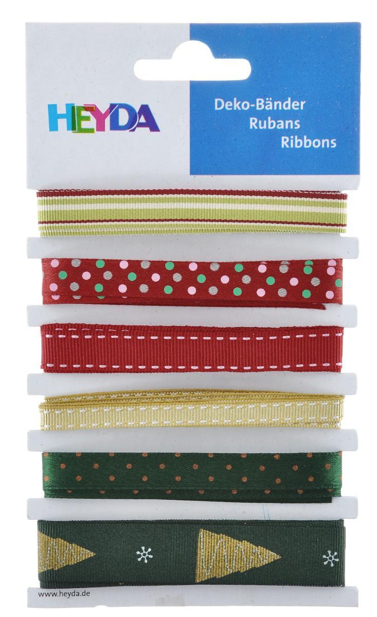 Набор декоративных лент Heyda Xmas Mix, 90 см, 6 шт набор декоративных лент veld co парча металл 1 6 см х 3 м 30 шт