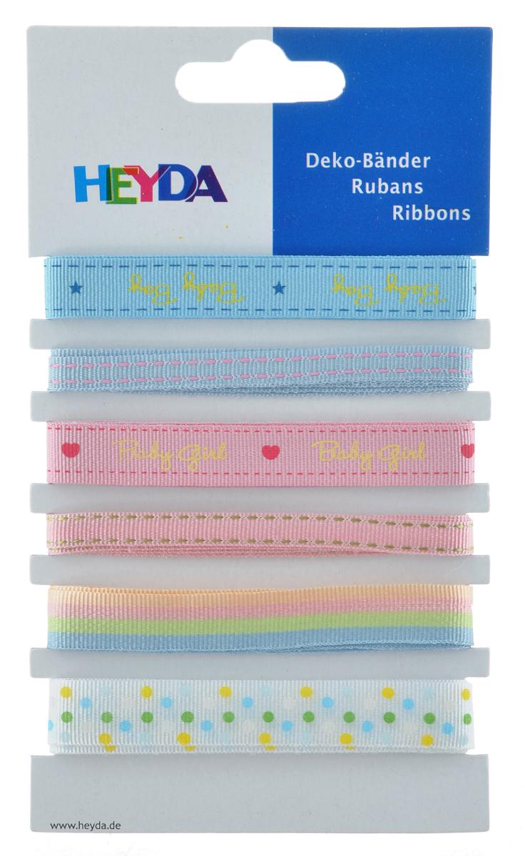 Набор декоративных лент Heyda Baby, 90 см, 6 шт набор декоративных лент veld co парча металл 1 6 см х 3 м 30 шт