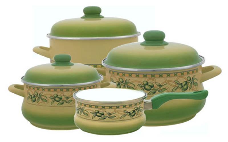 2071/ Оливки, Набор посуды 6/1 + Ковш 16см , форма Эмина, METROT(Метрот) (1)83210Объем большой кастрюли: 5,5 л.Объем средней кастрюли: 3,5 л.Объем малой кастрюли: 2 л.Объем ковша: 1,5 л. Материал: эмалированная сталь; рисунок Деколь