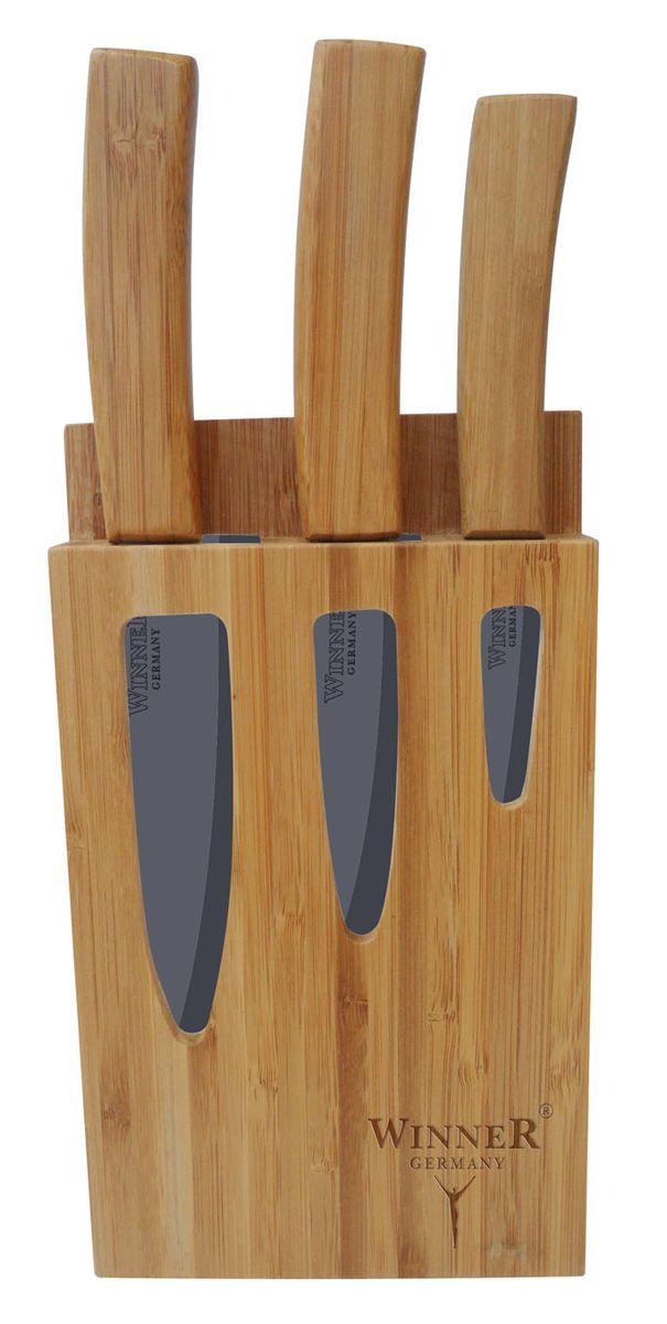 Набор керамических ножей Winner, на подставке, 4 предмета подставки для ножей winner подставка для ножей