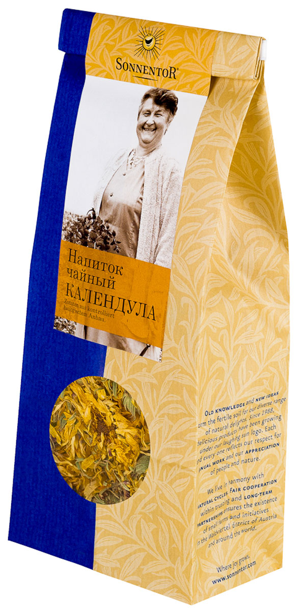 Sonnentor Календула листовой травяной чай, 50 гNT214Цветки для чая Sonnentor Календула собираются вручную, чтобы сохранить все их богатые свойства. Цветки заливают кипящей водой и настаивают 5-7 минут. Получается ароматный, но слегка горьковатый чай, имеющий мягкое, нежно-терпкое послевкусие. Календула знаменита входящими в ее состав витаминами и микроэлементами. Календула положительно воздействует на нервную систему при неврозах и стрессах. Многие заболевания желудочно-кишечного тракта излечиваются при участии настойки календулы.Всё о чае: сорта, факты, советы по выбору и употреблению. Статья OZON Гид