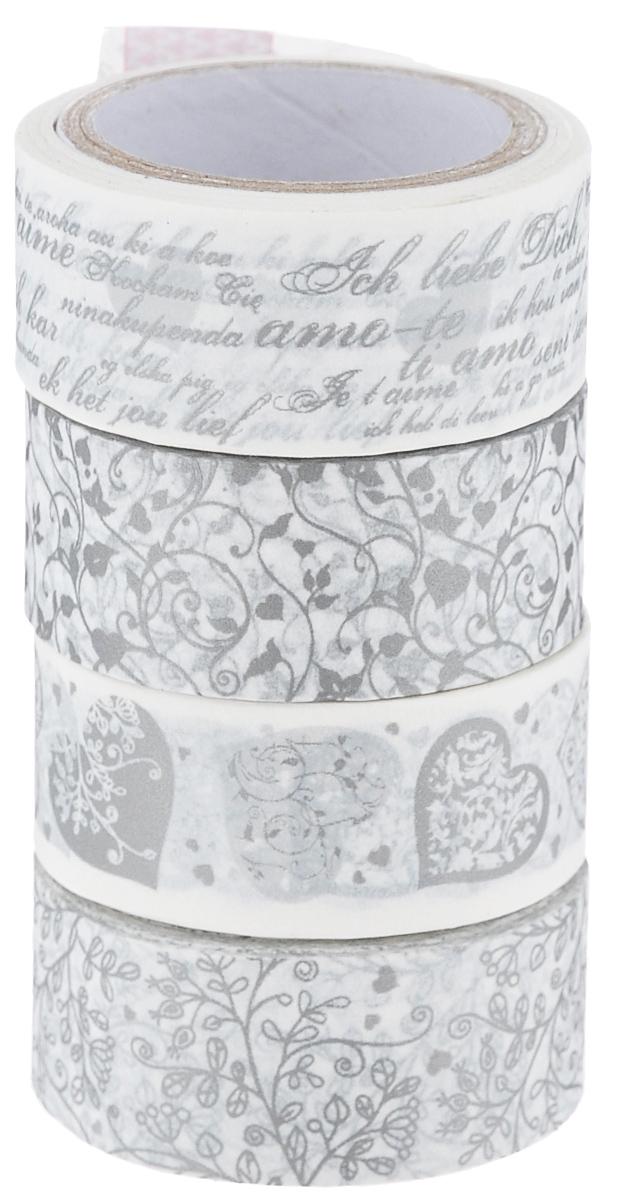Набор бумажных лент Heyda, на клейкой основе, цвет: молочный, серебристый, 1,5 х 500 см, 4 шт. 203584385203584385Набор Heyda состоит из 4 бумажных лент разных дизайнов. Такой набор идеально подойдет для создания и украшения красивых открыток, скрап-страничек и множества других проектов. Задняя сторона - клейкая. Скрапбукинг - это хобби, которое способно приносить массу приятных эмоций не только человеку, который этим занимается, но и его близким, друзьям, родным. Это невероятно увлекательное занятие, которое поможет вам сохранить наиболее памятные и яркие моменты вашей жизни, а также интересно оформить интерьер дома.Размер ленты: 1,5 см х 500 см.