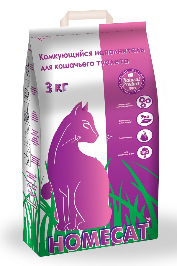 Наполнитель для кошачьих туалетов Homecat, комкующийся, 3 кг наполнитель для кошачьих туалетов кошкин секрет древесный 2 5 кг