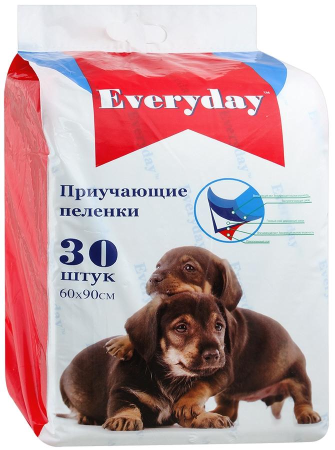 Фото - Пеленки для животных Everyday, впитывающие, гелевые, 60 х 90 см, 30 шт пеленки впитывающие уют гелевые для животных м 45 х 60 см 20 шт