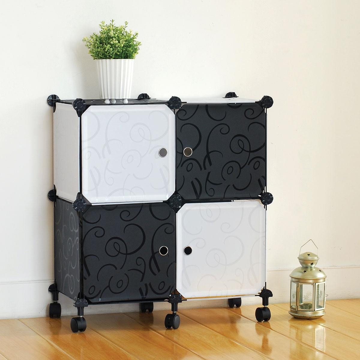 """Стеллаж """"Miolla"""" состоит из 4 кубов с дверцами. Вместительный и компактный стеллаж на колесах легко собирается и имеет разные варианты сборки.   Основание изделия изготовлено стали, а кубы изготовлены из полипропилена. Такой стеллаж можно разместить где угодно: в ванной, в спальне, в прихожей. Благодаря стильному дизайну и компактному размеру, стеллаж займет достойное место в любом уголке дома.  Размер стеллажа: 63,5 см х 30,5 см х 70 см.Размер панели: 29 см х 29 см."""