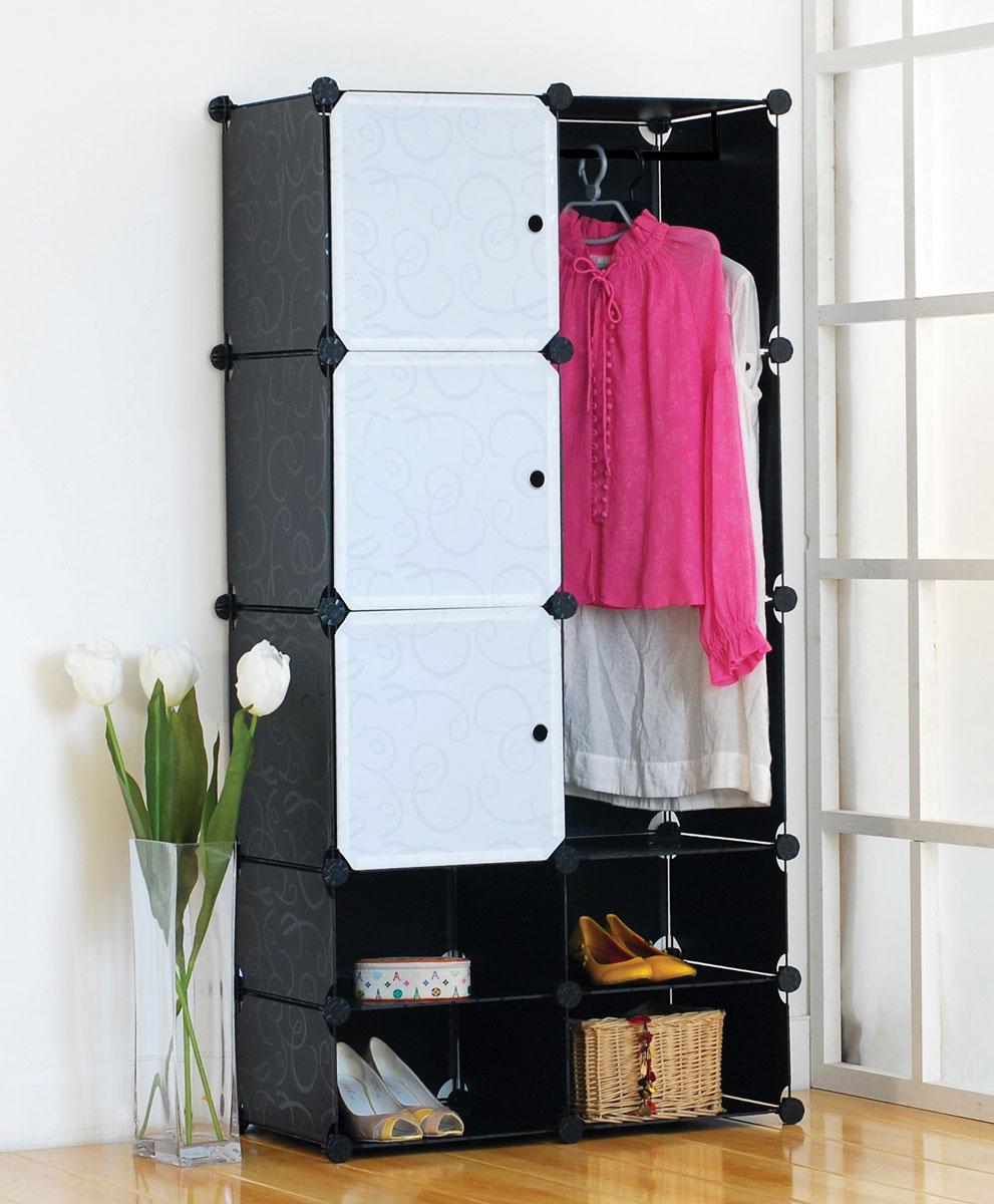 """Стеллаж """"Miolla"""" состоит из 3 кубов с дверцами, 4 открытых модулей и отсека с перекладиной для одежды. Вместительный и компактный стеллаж легко собирается и имеет разные варианты сборки.  Основание изделия изготовлено из нержавеющей стали с хромированным покрытием, а кубы изготовлены из полипропилена. Такой стеллаж можно разместить где угодно: в спальне или в прихожей.  Благодаря стильному дизайну и компактному размеру, стеллаж займет достойное место в любом уголке дома.  Размер стеллажа: 76,6 см х 37 см х 151 см. Размер панелей: 35,3 см х 35,3 см, 35,3 см х 18,5 см."""