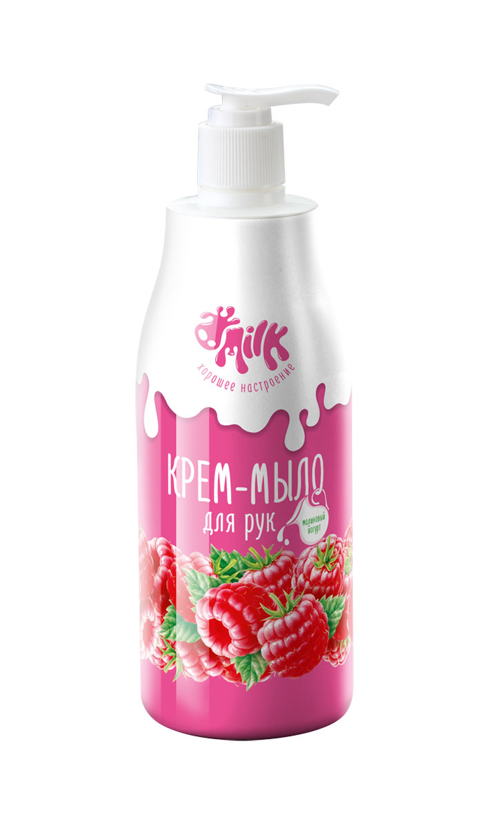Milk Крем-мыло для рук Малиновый йогурт, 500 мл09502Сочный флакон хорошего настроения с невероятно сочным ароматом лесной малины погружает в атмосферу солнечного лета! Нежная йогуртовая текстура крем-мыла бережно очищает и увлажняет кожу рук. Благодаря питательному экстракту молока и ароматной малины Ваша кожа надежно защищена от негативного воздействия жесткой воды, и после применения остается нежной и гладкой. Хорошего настроения!
