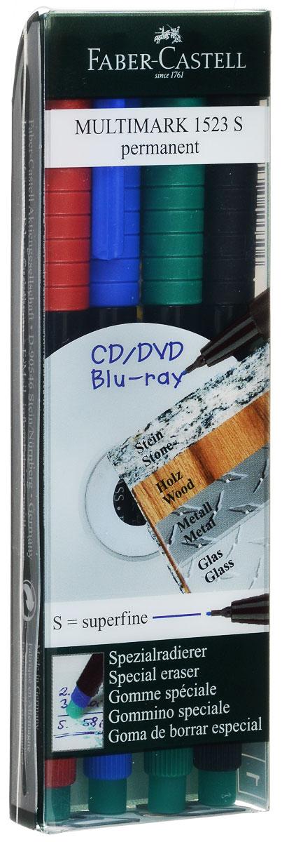 Faber-Castell Капиллярная ручка Multimark 4 шт152304Капиллярная ручка Faber-Castell Multimark пригодна для письма на пленке для проекторов и всех видах гладких поверхностей - CD, металл, стекло, пластик (PP, PET, ПВХ и т.д.).Ручка содержит специальный ластик для стирания чернил.В комплект входят 4 ручки красного, синего, зеленого и черного цветов.