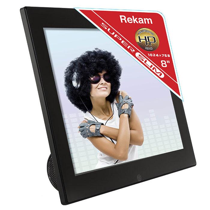 Rekam DejaView FM87S цифровая фоторамка2101000548Цифровая фоторамка Rekam DejaView FM87S - стильный настольный девайс с интересным дизайном. Благодаря встроенному FM-радиофоторамка может выполнять функцию радиоприемника, что отлично сочетается с такими функциями фоторамки как слайд-шоу, часы, календарь,будильник.В рамке реализован весь набор опций, характерный для подобных устройств: слайд-шоу с эффектами перехода, увеличение и поворотфотографий,просмотр фотоархива в виде пиктограмм.Мультимедийная фоторамка Rekam FM85S позволяет прослушивать музыку, в том числе в фоновом режиме. Благодаря поддержкераспространенных видео форматов, рамку можно использовать как видеопроигрыватель.Управлять рамкой можно при помощи входящего в комплект пульта. Разъемы для подключения питания, антенны и съемных носителей – USBmini и 2.0, SD/SDHC/MMC - расположены на задней стороне подставки.Режимы просмотра: полный экран, слайд-шоу, пиктограммы Операции: поворот, масштабирование Дополнительные функции: календарь, часы, будильник Источник питания: блок питания 110 В-240 В (50-60 Гц) Металлический корпус