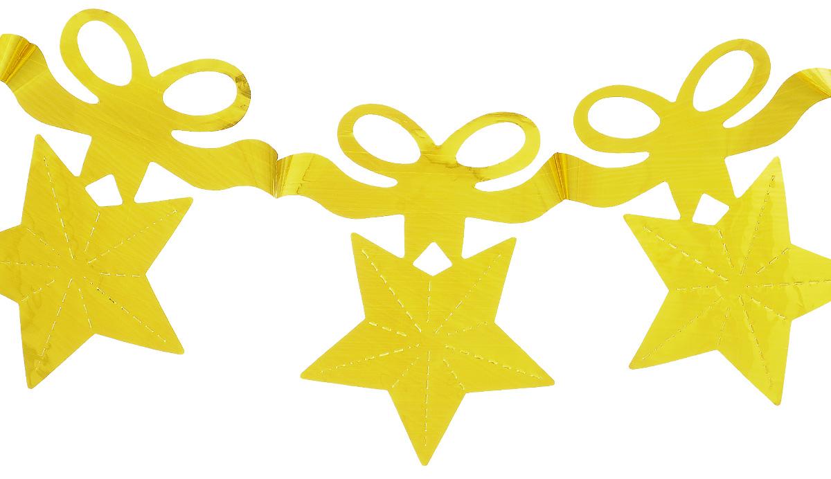 Новогодняя гирлянда Феникс-презент Звезды с бантиком, цвет: золотистый, длина 2,7 м30959Гирлянда Феникс-презент Magic Time идеально подойдет для декорирования интерьера в преддверии Нового Года. Изделие выполнено из блестящего полиэтилена в виде звезды с бантиком. Оригинальный дизайн и красочное исполнение создадут праздничное настроение.Новогодние украшения всегда несут в себе волшебство и красоту праздника. Создайте в своем доме атмосферу тепла, веселья и радости, украшая его всей семьей.Размер гирлянды: 13 см х 16 см.