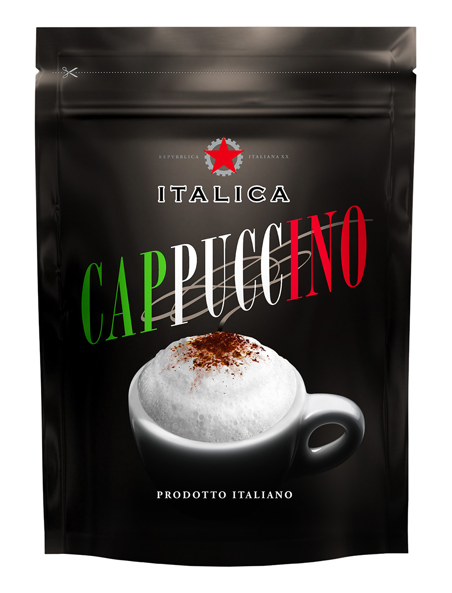 Italica Cappuccino кофейный напиток, 100 г4670016470591Italica Cappuccino — это превосходное сочетание французских сливок и зерен бразильской арабики, которое позволяет быстро приготовить итальянский капучино - нежный, ароматный, с красивой пенкой.