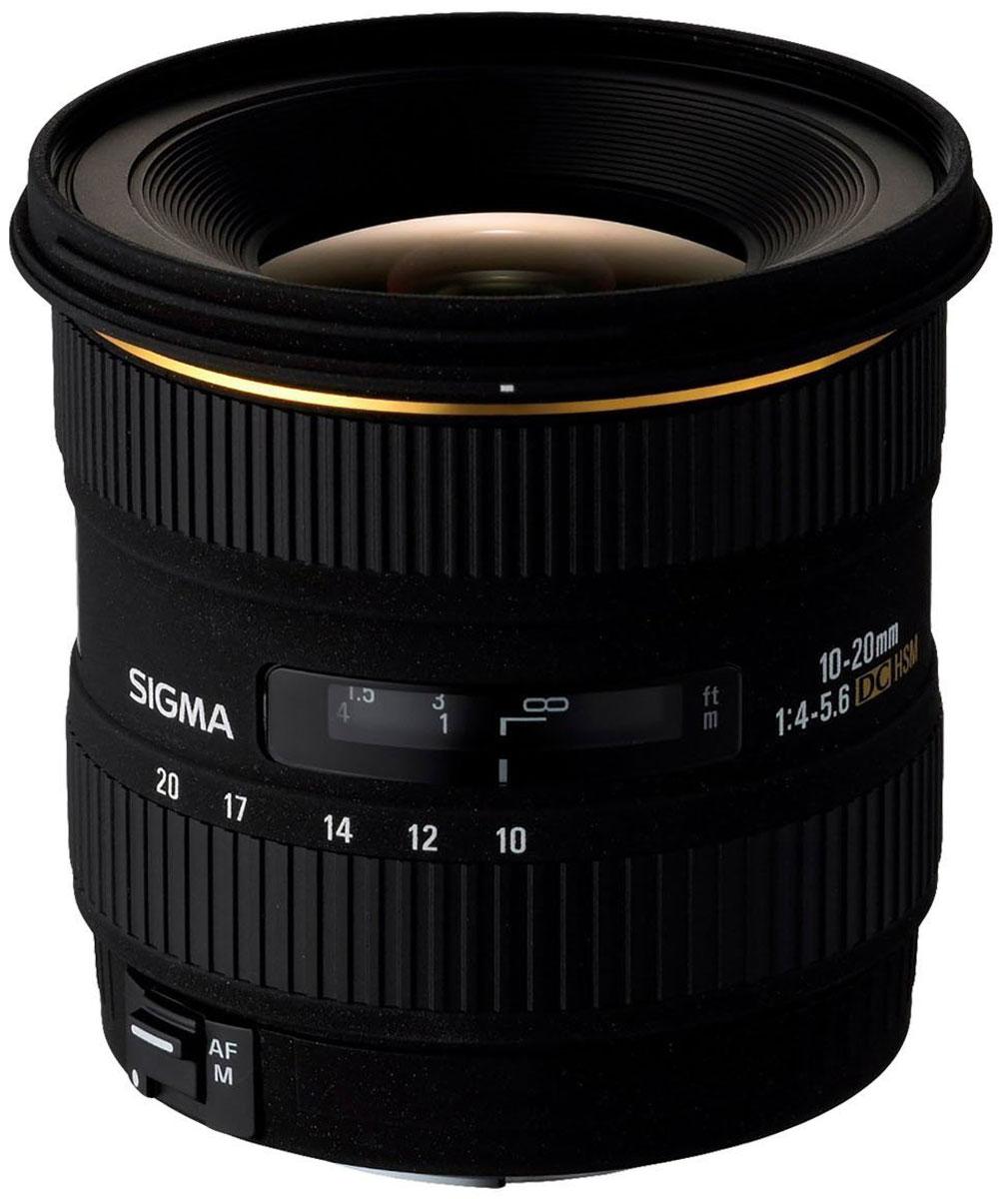 SigmaAF10-20mmF/3.5EXDCHSM, Black объектив для Canon202954Двукратный сверхширокоугольный объектив SigmaAF10-20mmF/3.5 EXDCHSM открывает отличные возможности широкоугольной съемки как в помещении, так и на открытом воздухе. Даже с учетом кроп-фактора его диапазон фокусных расстояний охватывает наиболее употребительные широкоугольные значения 15 – 30 мм. Высокая постоянная светосила дает возможность с удобством использовать объектив в пасмурную погоду или для съемки в помещении. Угол поля зрения изменяется в пределах 102,4° - 63,8° (в зависимости от исполнения), что позволяет получать преувеличенную перспективу и с успехом решать самые сложные творческие задачи.Объектив AF 10-20 mm F/3.5 EX DC HSM специально предназначен для использования с цифровыми камерами и формирует круг изображения, в точности соответствующий площади сенсора формата APS-C. Уменьшение круга изображения позволило сделать объектив более легким и компактным, благодаря чему AF 10-20 mm F/3.5 EX DC HSM сможет с удобством отправиться со своим владельцем в любую поездку или путешествие. Объектив принадлежит к линейке профессиональной оптики Sigma EX, поэтому весьма надежен в эксплуатации и имеет очень прочную конструкцию.Оптическая схема объектива состоит из 13 линз в 10 группах. Использование трех специальных элементов (двух из стекла из стекла ELD со сверхнизким и одного из стекла SLD с низким уровнем дисперсии) позволило свести к минимуму хроматическую аберрацию. Кроме того, в конструкции предусмотрено четыре асферических линзы (две литые и две гибридные), которые эффективно исправляют дисторсию и различные виды аберраций. Оптические элементы выполнены с многослойным просветлением, что исключает появление бликов и переотражений, от которых часто страдают изображения, полученные при помощи цифровых фотокамер. Объектив обеспечивает превосходную резкость, высокий контраст и правильную цветопередачу при любом значении фокусного расстояния.Автофокусировка осуществляется при помощи ультразвукового привода 