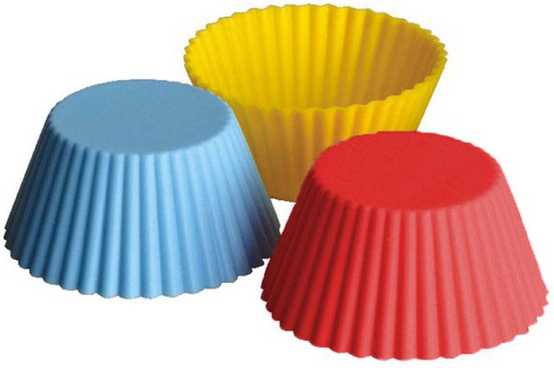Набор форм Regent Inox Тарталетки, силиконовый, 6 предметов630620Набор Regent Inox Тарталетки состоит из 6 форм, выполненных из силикона красного, жёлтого и синего цветов. Формы предназначены для выпечки и заморозки. Стенки форм рельефные. Силиконовые формы для выпечки имеют много преимуществ по сравнению с традиционными металлическими формами и противнями. Они идеально подходят для использования в микроволновых, газовых и электрических печах при температурах до +230°С. В случае заморозки до -40°С. За счет высокой теплопроводности силикона изделия выпекаются заметно быстрее. Благодаря гибкости и антиприлипающим свойствам силикона, готовое изделие легко извлекается из формы. Для этого достаточно отогнуть края и вывернуть форму (выпечке дайте немного остыть, а замороженный продукт лучше вынимать сразу). Силикон абсолютно безвреден для здоровья, не впитывает запахи, не оставляет пятен, легко моется. С такой формой вы всегда сможете порадовать своих близких оригинальной выпечкой. Характеристики:Материал: силикон. Комплектация: 6 шт. Диаметр одной формы: 7 см. Высота формы: 3,5 см. Размер упаковки: 19,5 см х 15,5 см х 5,5 см. Артикул: 93-SI-S-17.