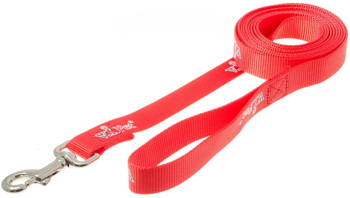 Поводок с карабином V.I.Pet 25мм * 3м (красный) 73-0865