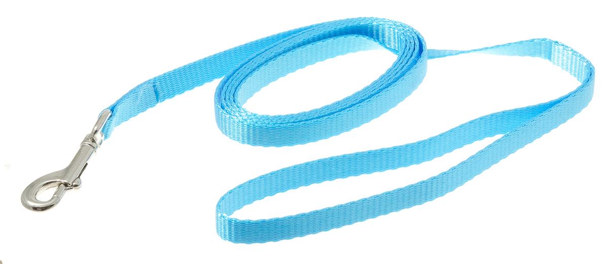 Поводок для собак V.I.Pet, цвет: голубой, ширина 10 мм, длина 1,5 м73-0924Поводок с карабином V.I.Pet, изготовленный из нейлона, предназначен для выставок и повседневного выгула. Материал поводка отличается повышенной прочностью, мало подвержен механическому воздействию, поэтому надолго сохранит аккуратный внешний вид и насыщенность цвета. Вращающийся вертлюг карабина предотвращает перекручивание поводка.