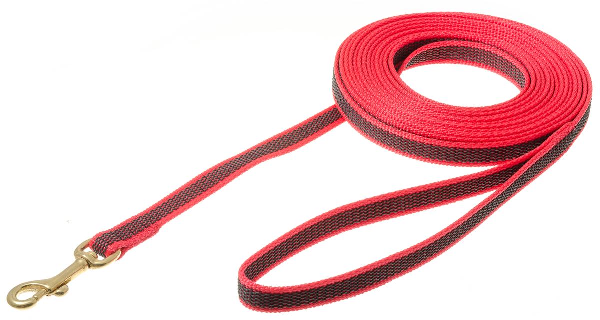 Поводок с карабином профессиональный с латексом 15мм*5м (красный) (бронзовый карабин) 73-2584 jd коллекция 15мм 5м шелк любви дефолт