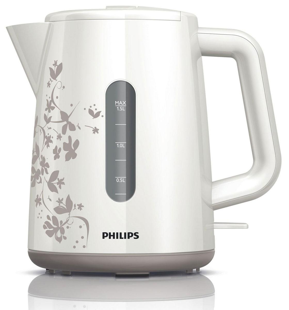 Philips HD9304/13 электрочайникHD9304/13Не правда ли, здорово за считаные секунды вскипятить воду и без лишних усилий очистить чайник? Плоский нагревательный элемент позволяет быстро вскипятить воду и прост в очистке. Благодаря моющемуся фильтру очистки от накипи вода становится чистой, а напитки - без частиц известкового осадка. Широко открывающаяся откидная крышка для удобства наполнения и чистки чайника Широко открывающаяся откидная крышка для удобства наполнения и чистки чайника исключает контакт с паром. Индикаторы уровня воды с двух сторон чайника Индикаторы уровня воды по обеим сторонам электрического чайника Philips будут удобны и для правшей, и для левшей. Беспроводная подставка с поворотом на 360° для удобства использования. Наполнить чайник можно через носик или открыв крышку. Фильтр для защиты от накипи обеспечивает чистоту воды и чайника.Катушка для удобного хранения шнура Шнур оборачивается вокруг основания, что позволяет легко разместить чайник на кухне. Плоский нагревательный элемент для быстрого кипячения воды и легкой чисткиВстроенный нагревательный элемент из нержавеющей стали обеспечивает быстрое кипячение и простую чистку. Комплексная система безопасности Комплексная система безопасности для предотвращения короткого замыкания и выкипания воды. Функция автовыключения активируется, когда процесс завершается или прибор снимается с основания.