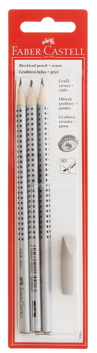 Faber-Castell Чернографитовый карандаш Grip 2001 3 шт твердость HB/B/2B + ластик - колпачок в блистере263427Faber-Castell Чернографитовый карандаш GRIP 2001 с ластиком станет незаменимым атрибутом для учебы или работы. В набор входят 3 карандаша эргономичной трехгранной формы с запатентованной технологией GRIP, представляющей собой антискользящую зону захвата с малыми массажными шашечками и колпачок-ластик. Качественная мягкая древесина карандашей идеальна для хорошего затачивания, а специальная SV технология вклеивания грифеля предотвращает поломку грифеля при падении на пол.Карандаши покрыты лаком на водной основе в целях защиты окружающей среды.