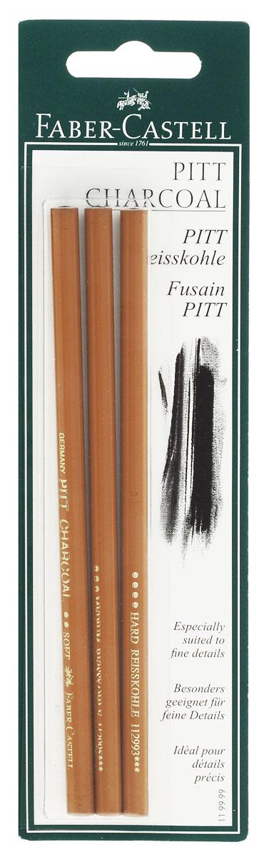 Faber-Castell Прессованные уголь-карандаши Pitt Monochrome твердость Soft extra Soft Medium 3 шт -  Мелки и пастель