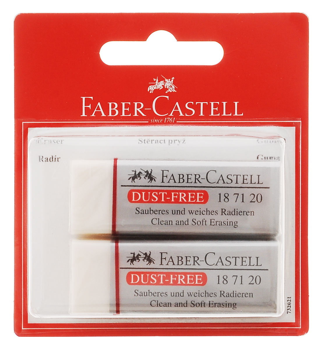 Faber-Castell Ластик Dust Free 2 шт263243Ластик Faber-Castell Dust Free из ПВХ в белой защитной упаковке, не содержит фталаты, пригоден для графитных простых и цветных карандашей. Размеры ластика: 6 см х 2 см х 1 см. В комплекте 2 ластика.