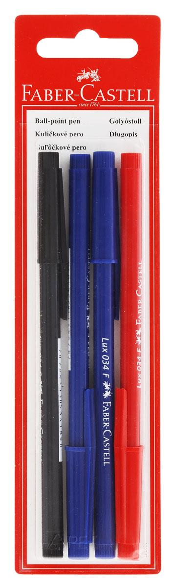 Faber-Castell Ручка шариковая 034-F цвет синий, красный, черный 4 шт263213Шариковые ручки Faber-Castell 034-F станут незаменимыми атрибутами учебы или работы. Корпус ручек и колпачки выполнены из пластика синего, красного и черного цветов. Высококачественные синие, красные и черные чернила позволяют добиться идеальной плавности письма. Ручки оснащены клип-зажимом для удобной фиксации на бумаге или одежде. В комплект входят 2 ручки с синими чернилами, 1 ручка с черными чернилами, 1 ручка с красными чернилами.