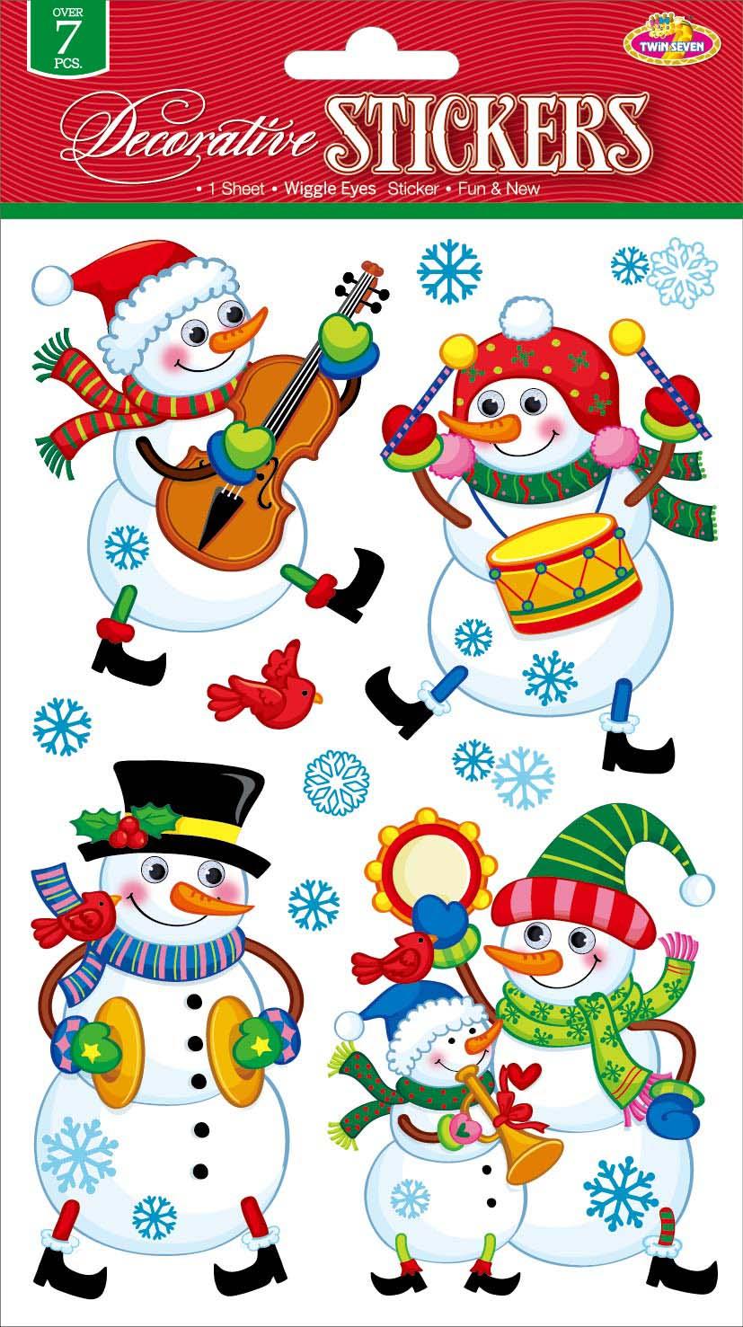Наклейки для интерьера Room Decoration Забавные снеговичкиCLX3408Наклейки для стен и предметов интерьера Room Decoration Забавные снеговички, изготовленные из самоклеящейся виниловой пленки, помогут украсить дом к предстоящим праздникам. Изделия выполнены в виде снеговиков с объемными глазами, снежинок.Наклейки дадут вам вдохновение, которое изменит вашу жизнь и поможет погрузиться в мир ярких красок, фантазий и творчества. Для вас открываются безграничные возможности придумать оригинальный дизайн и придать новый вид стенам и мебели. Наклейки абсолютно безопасны для здоровья. Они быстро и легко наклеиваются на любые ровные поверхности: стены, окна, двери, стекла, мебель. При необходимости удобно снимаются, не оставляют следов. Наклейки Room Decoration Забавные снеговички помогут вам изменить интерьер вокруг себя: в детской комнате и гостиной, на кухне и в прихожей, витрину кафе и магазина, детский садик и офис.Размер листа: 14 см х 21 см.Количество наклеек на листе: 11 шт.Размер самой большой наклейки: 7,5 см х 9,5 см.Размер самой маленькой наклейки: 1,3 см х 1,3 см.