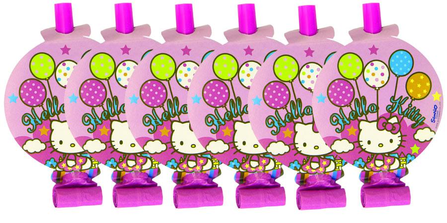 Веселая затея Язык-гудок с карточкой Hello Kitty 8 шт -  Аксессуары для детского праздника