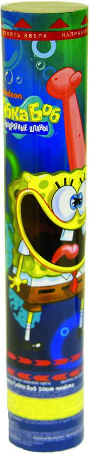 """Хлопушка Веселая затея """"Губка Боб"""" добавит вашему празднику шума и веселья. Стоит только повернуть основание хлопушки, как раздастся громкий хлопок и выброс красочного конфетти. Хлопушка, идеально подходящая для домашнего салюта, наполнена разноцветной бумагой и серпантином."""