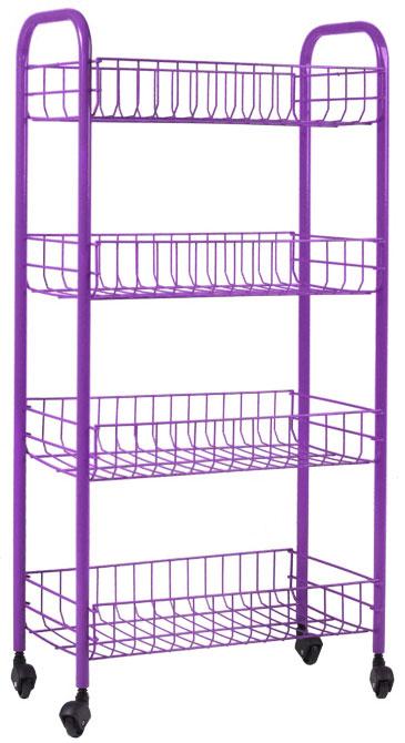 Этажерка Metaltex Pisa, 4-уровневая, цвет: фиолетовый, 41 х 23 х 84 см34.06.34_фиолетовыйЭтажерка Metaltex Pisa с четырьмя полками выполнена из высококачественной стали, окрашенной краской, содержащей эпоксидный порошок. Очень удобная и компактная, но в то же время вместительная, она прекрасно впишется в пространство любого помещения. Ее можно установить в ванной комнате и ваши шампуни, гели для душа и различные крема всегда будут под рукой; на кухне этажерку можно использовать для хранения посуды и продуктов. Благодаря колесикам этажерку можно перемещать в любую сторону без особых усилий. Изделие легко собирается и разбирается.Размер полки: 37,5 см х 23 см х 7 см.