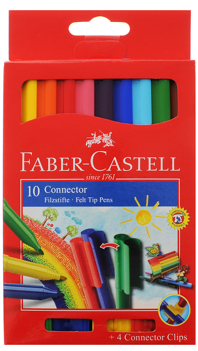 Faber-Castell Набор фломастеров с клипом 10 цветов155510Фломастеры Faber-Castell с клипом идеальны для раскрашивания, рисования на больших поверхностях. Корпуса, выполненные из цветного пластика, имеют округлую форму. Фломастеры удобно брать в собой в поездку, на прогулку. Соединенные между собой необычными клип-зажимами на колпачках, они не потеряются.Фломастеры для раскрашивания и рисования помогут вашему малышу создать неповторимые яркие картинки, а упаковка с любимыми героями мультфильма будет долгое время радовать кроху.