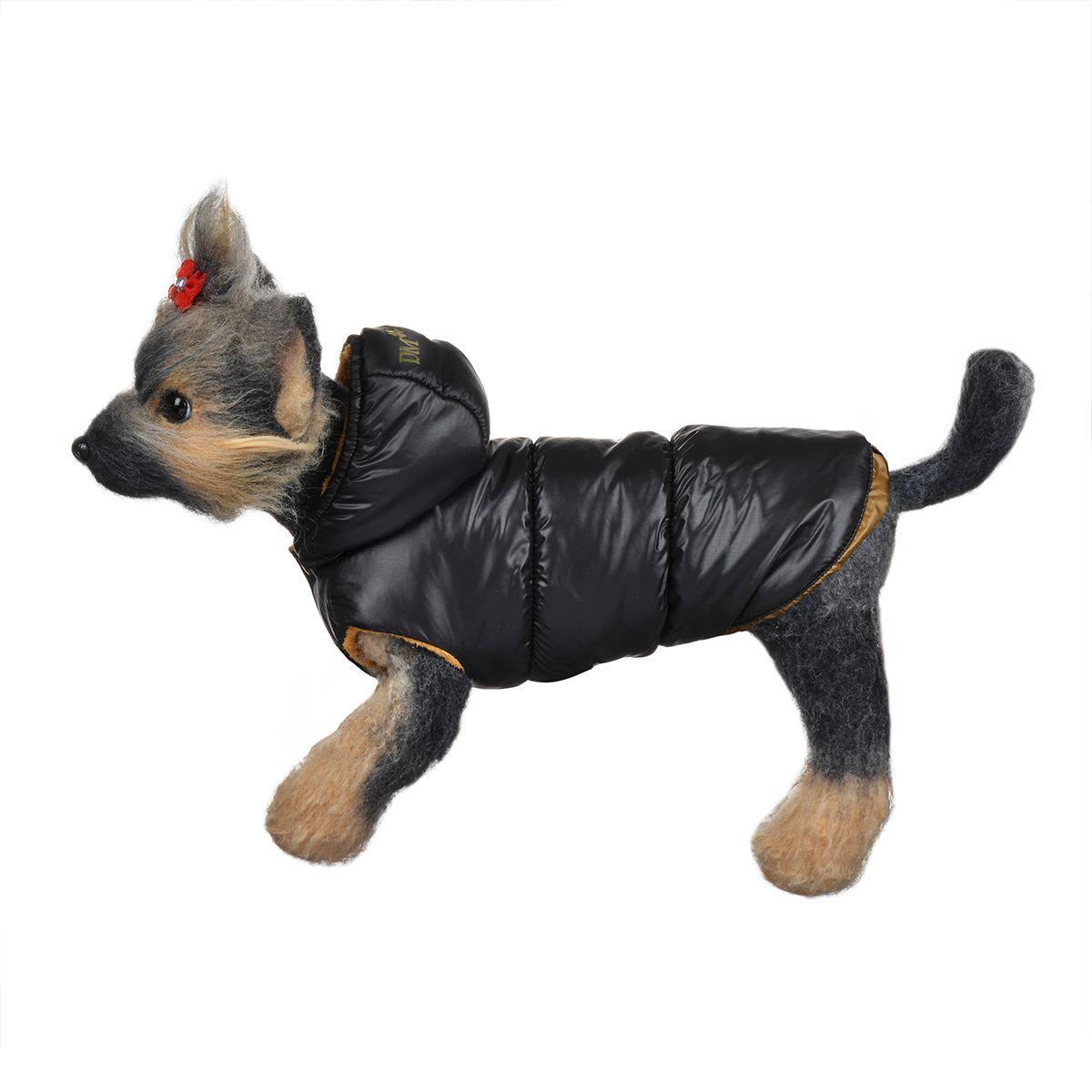 Куртка для собак Dogmoda, зимняя, унисекс, цвет: черный, медный. Размер 2 (M)DM-150348-2Теплая и удобная куртка для собак Dogmoda отлично подойдет для прогулок в зимнее время года. Куртка изготовлена из водонепроницаемого полиэстера, защищающего от ветра и снега, с утеплителем изсинтепона, который сохраниттепло даже в сильные морозы, а в качестве подкладки используется мягкий искусственный мех, обеспечивающийотличный воздухообмен. Куртка с капюшоном застегивается на кнопки, благодаря чему ее легко надевать и снимать. Капюшон не отстегивается и украшен золотистой надписью DM и изображением клевера. Изделие имеет специальные прорези для передних лапок и внутренние резинки, которые мягко обхватывают тело вашего питомца, не позволяя просачиваться холодному воздуху. По низу изделие затягивается на шнурок-кулиску.Благодаря такой куртке простуда не грозит вашему питомцу, и он сможет испытать несравнимое удовольствие от снежных игр и забав.Одежда для собак: нужна ли она и как её выбрать. Статья OZON Гид