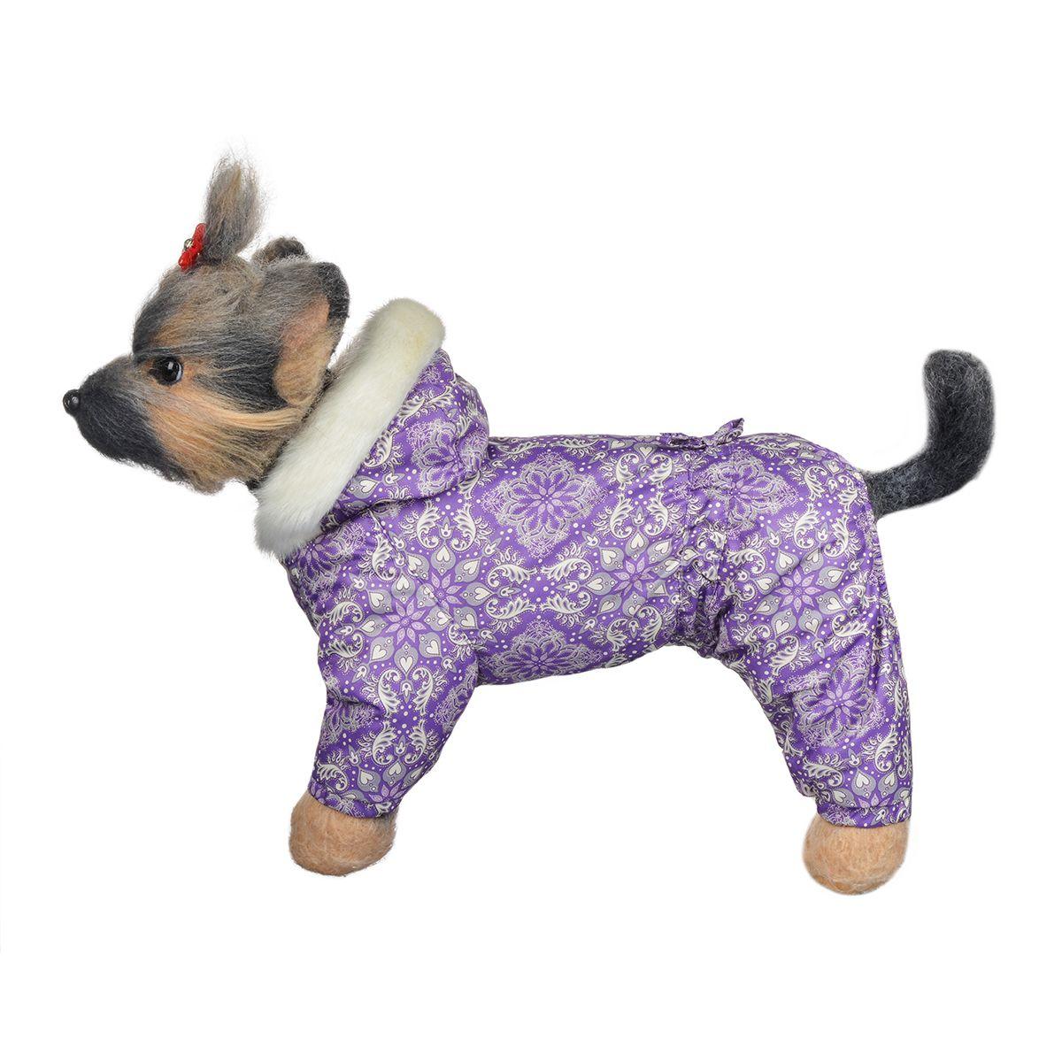 Комбинезон для собак Dogmoda Winter, зимний, для девочки, цвет: фиолетовый, белый, серый. Размер 1 (S)DM-150335-1Зимний комбинезон для собак Dogmoda Winter отлично подойдет для прогулок в зимнее время года.Комбинезон изготовлен из полиэстера, защищающего от ветра и снега, с утеплителем из синтепона, который сохранит тепло даже в сильные морозы, а на подкладке используется искусственный мех, который обеспечивает отличный воздухообмен. Комбинезон с капюшоном застегивается на кнопки, благодаря чему его легко надевать и снимать. Капюшон украшен искусственным мехом и не отстегивается. Низ рукавов и брючин оснащен внутренними резинками, которые мягко обхватывают лапки, не позволяя просачиваться холодному воздуху. На пояснице комбинезон затягивается на шнурок-кулиску.Благодаря такому комбинезону простуда не грозит вашему питомцу.