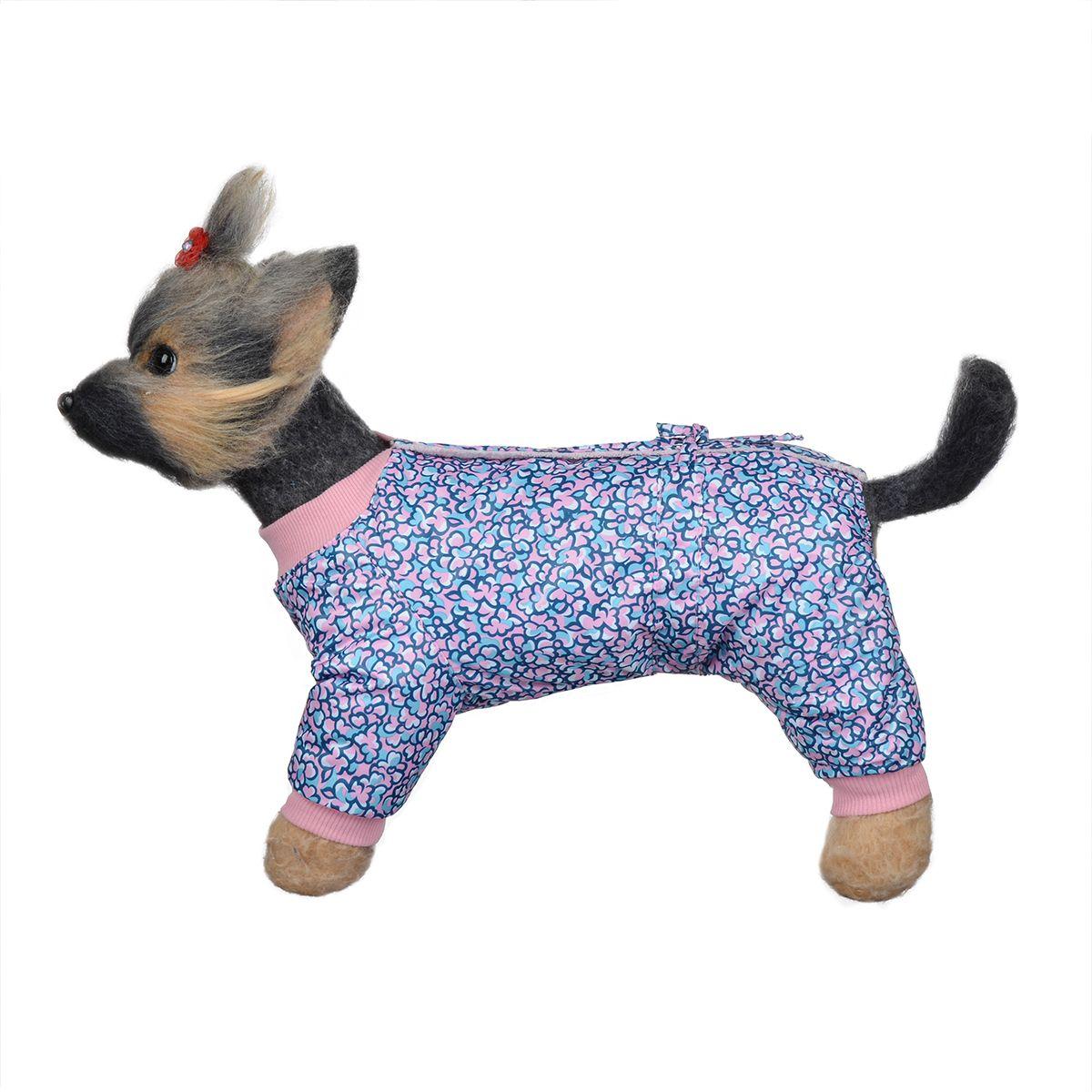 Комбинезон для собак Dogmoda Лаки, зимний, для девочки, цвет: розовый, синий. Размер 1 (S)DM-150334-1Комбинезон для собак Dogmoda Лаки, оформленный ярким цветочным рисунком, отлично подойдет для прогулок в зимнее время года.Комбинезон изготовлен из водоотталкивающего полиэстера, защищающего от ветра и снега, с утеплителем из синтепона, который сохранит тепло даже в сильные морозы, а в качестве подкладки используется искусственный мех, который обеспечивает отличный воздухообмен. Комбинезон застегивается на кнопки на спинке, благодаря чему его легко надевать и снимать. Ворот, низ рукавов и брючин оснащены широкими трикотажными манжетами, которые мягко обхватывают шею и лапки, не позволяя просачиваться холодному воздуху. На пояснице комбинезон затягивается на шнурок-кулиску. Изделие имеет максимально закрытый животик. Благодаря такому комбинезону простуда не грозит вашему питомцу, и он сможет испытать не сравнимое удовольствие от снежных игр и забав.