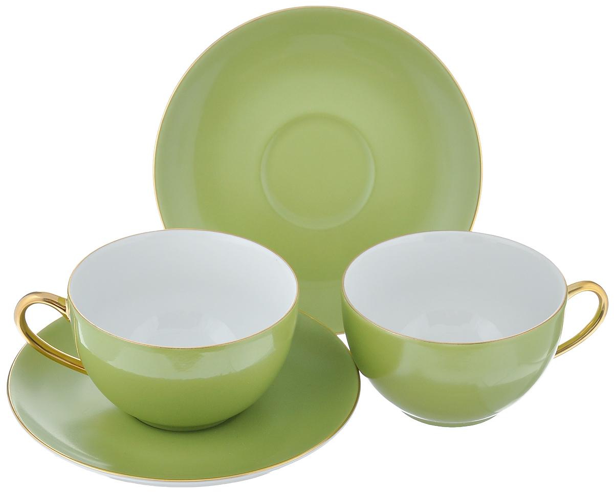 Набор чайный La Rose Des Sables Monalisa, цвет: зеленый, золотистый, 4 предмета6195003128Чайный набор La Rose Des Sables Monalisa состоит из двух чашек и двух блюдец. Предметы набора изготовлены из высококачественного фарфора. Изящный дизайн придется по вкусу и ценителям классики, и тем, кто предпочитает утонченность и изысканность. Он настроит на праздничный лад и подарит хорошее настроение с самого утра. Чайный набор - идеальный и необходимый подарок для вашего дома и для ваших друзей в праздники, юбилеи и торжества! Он также станет отличным корпоративным подарком и украшением любой кухни. Не рекомендуется использовать в микроволновой печи и мыть в посудомоечной машине.Объем чашки: 210 мл. Диаметр чашки (по верхнему краю): 9,5 см.Высота чашки: 5 см.Диаметр блюдца: 15 см.