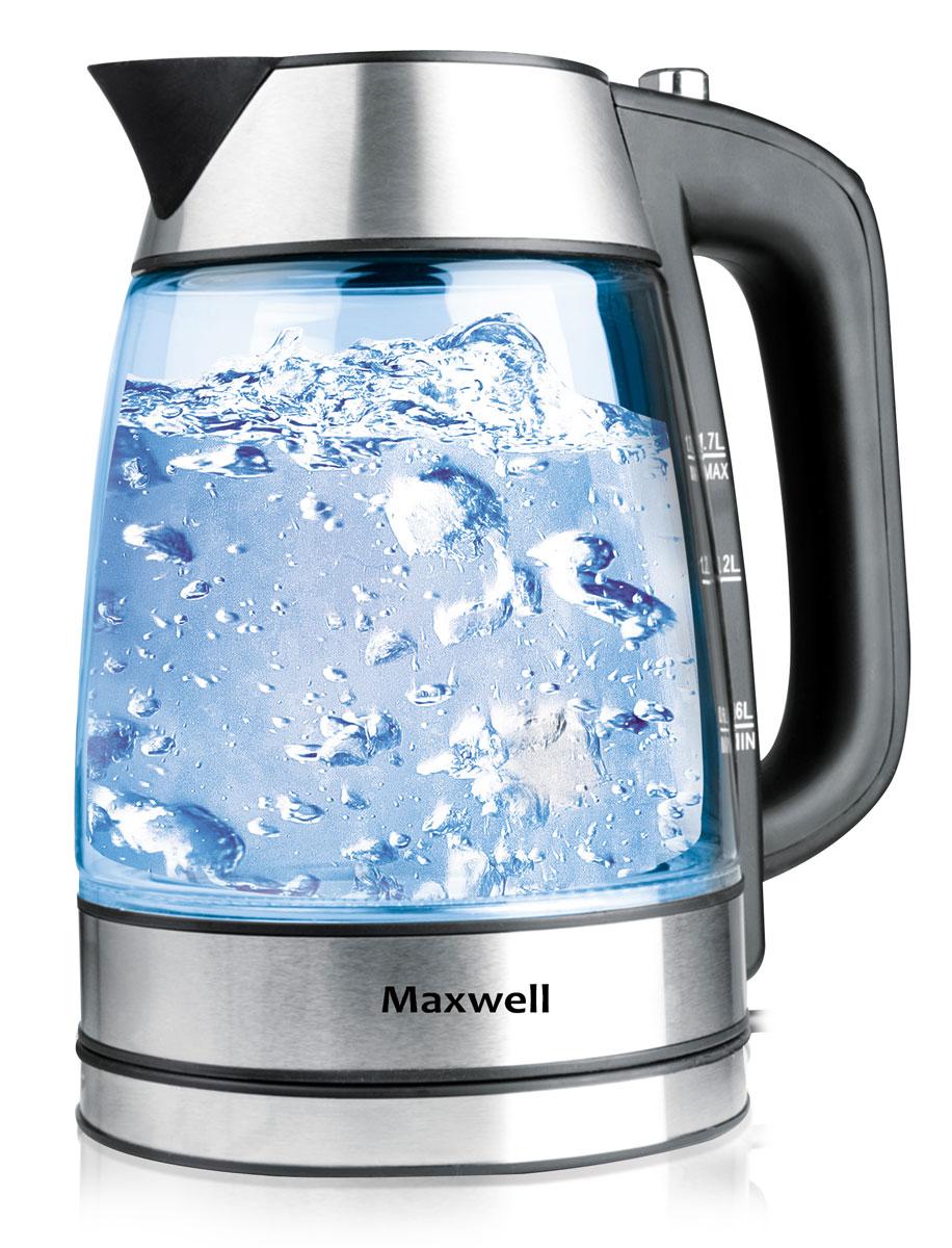 Maxwell MW-1053 электрочайникMW-1053(ST)Что же может быть лучше яркого и стильного чайника для вашей кухни? Конечно, электрочайник MAXWELL MW-1053! Данная модель выполнена в классическом и в то же время оригинальном стиле - сочетание стеклянного корпуса со вставками из черного пластика превращают чайник в стильный аксессуар на вашей кухне. Стоит лишь включить чайник для нагрева воды, как он заиграет яркими красками благодаря встроенной подсветке! Пузырьки воды приобретут необычный цвет и будут завораживающе смотреться, волшебно поднимаясь со дна чайника. Благодаря прозрачному корпусу, вы всегда будете знать, сколько жидкости в чайнике, что особенно удобно в процессе использования этого компактного устройства!